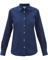 Officine Generale Colombe Cotton-denim Herringbone Shirt - Blue