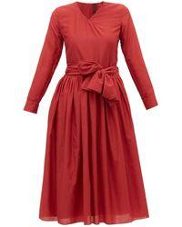Sara Lanzi V-neck Cotton-blend Wrap Dress - Red