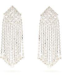 Alessandra Rich Crystal Cascade Square Clip Earrings - Multicolour