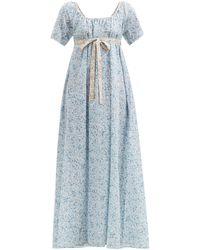 Thierry Colson Plum Empire-line Floral Cotton-voile Maxi Dress - Blue