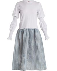 Shrimps - Juniper Contrast Gingham And Cotton-jersey Dress - Lyst