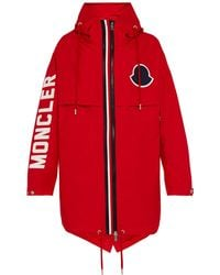 Moncler Granduc Logo Hooded Parka - Red