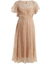 N°21 - Floral Embroidered Chiffon Dress - Lyst