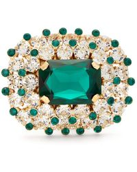 Dolce & Gabbana Glass Crystal-encrusted Metal Ring - Green