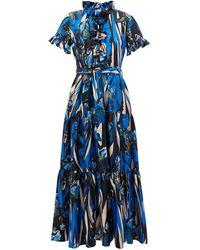 La DoubleJ Long And Sassy ラッフル フローラルシルクドレス - ブルー