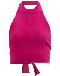 Extreme Cashmere No.160 ワイズ ホルターネック カシミアブレンドトップ - ピンク