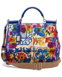 Dolce & Gabbana - Sicily Majolica Print Cotton Beach Bag - Womens - Blue Multi