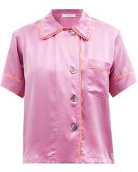Araks Shelby Short-sleeved Silk-charmeuse Pajama Shirt - Pink