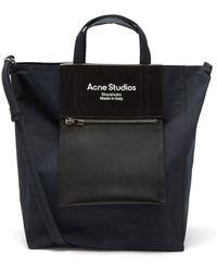 Acne Studios ミディアム レザーパネル キャンバストートバッグ - ブラック