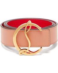 Christian Louboutin Monogram-buckle Leather Belt - Pink