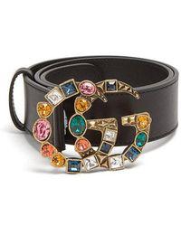 Gucci - Crystal-embellished Gg-logo 4cm Leather Belt - Lyst