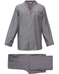 Zimmerli Pyjama en coton à liseré - Gris