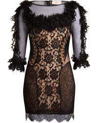 Christopher Kane - Ruffled Lace Short Dress - Lyst