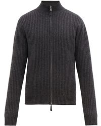 Allude Ribbed Knit Zipped Cashmere Cardigan - Gray