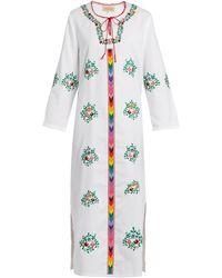 Muzungu Sisters Jasmine Floral-embroidered Cotton Dress - White
