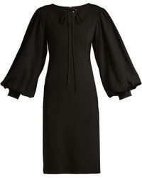 OSMAN Puff-sleeve Crepe Dress - Black