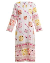 Juliet Dunn - - Sequin Embellished Embroidered Cotton Dress - Womens - White Multi - Lyst