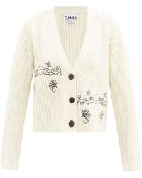 Ganni Smiling Face-embroidered Wool-blend Cardigan - Multicolour