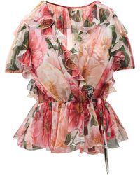 Dolce & Gabbana Camellia-print Silk-chiffon Wrap Blouse - Pink