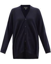 Eskandar V-neck Cashmere Cardigan - Blue