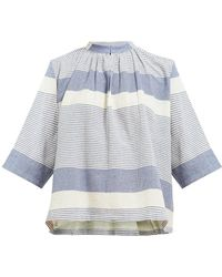 Apiece Apart Agata Shirred Striped Cotton Top - Blue