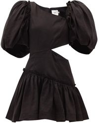Aje. Chateau Puff-sleeve Cutout Linen-blend Mini Dress - Black