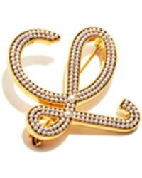 Loewe Pearl-embellished Metal Brooch - Metallic