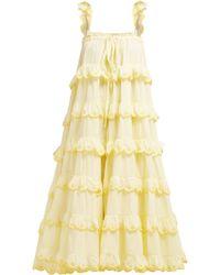 Innika Choo - Iva Biigdres Tiered Cotton Midi Dress - Lyst