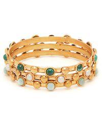 Sylvia Toledano Set Of Three Gemstone 24kt Gold Plated Bracelets - Metallic
