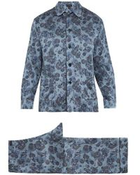 Meng - Bird And Floral-print Silk-satin Pyjama Set - Lyst