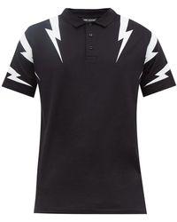 Neil Barrett Thunderbolt Print Cotton Polo Shirt - Black