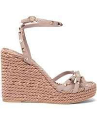 Valentino Torchon Rockstud Leather Wedge Sandals - Multicolor