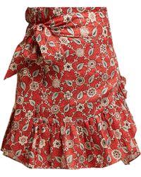 Étoile Isabel Marant Jupe portefeuille en coton à motif floral Tempster - Rouge