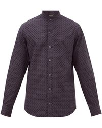 Giorgio Armani Square-embroidered Cotton-poplin Shirt - Blue