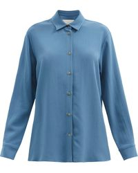 Asceno ミラン クレープシャツ - ブルー