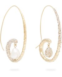 Givenchy Moonlight Pearl Mismatched Hoop Earrings - Metallic