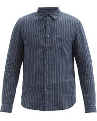 120% Lino 120% Lino ピンストライプ テクスチャード リネンキャラコシャツ - ブルー