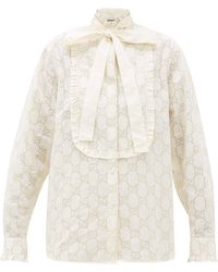 Gucci Gg Broderie Anglaise Cotton Blend Shirt - White