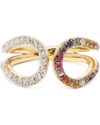 Ana Khouri - Liberty 18kt Gold, Diamond & Sapphire Ring - Lyst