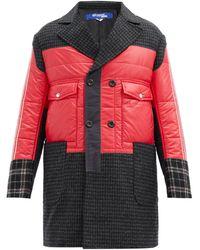Junya Watanabe Padded-bodice Houndstooth Wool-tweed Coat - Multicolor