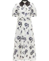 9346053fbdc0 Self-Portrait Floral Crochet Lace Midi Dress in White - Lyst