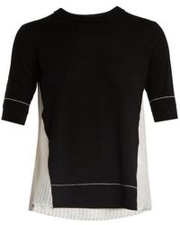 Sonia Rykiel Contrast-panel Wool T-shirt - Black