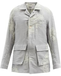 BED j.w. FORD Feather-jacquard Cotton-blend Jacket - Grey