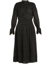 Rebecca Taylor - Smocked Star-print Silk And Cotton-blend Dress - Lyst