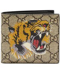 Gucci Gg Supreme Tiger Print Canvas Wallet - Brown