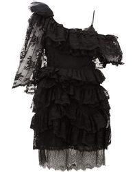 Preen By Thornton Bregazzi Valerie ワンショルダー ティアードレースドレス - ブラック