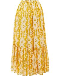 Mes Demoiselles Sumatra Ikat-print Cotton-voile Skirt - Yellow
