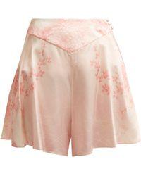 Hillier Bartley - Floral Print Silk Shorts - Lyst