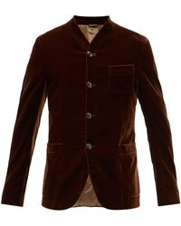 Giorgio Armani Single-breasted Stand-collar Velvet Blazer - Brown