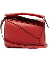 Loewe Puzzle Mini Leather Cross-body Bag - Red